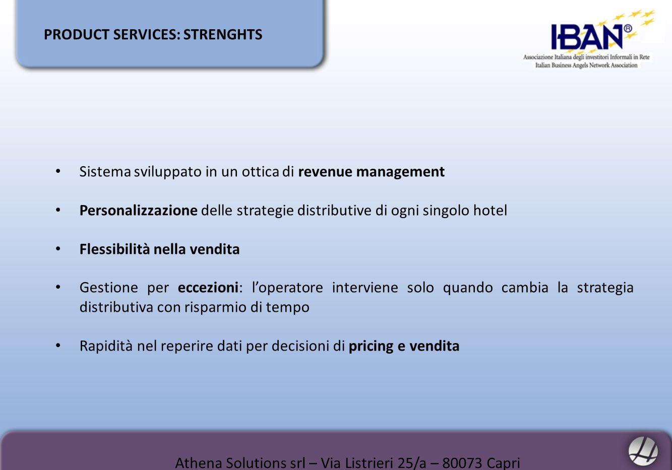 PRODUCT SERVICES: STRENGHTS Sistema sviluppato in un ottica di revenue management Personalizzazione delle strategie distributive di ogni singolo hotel