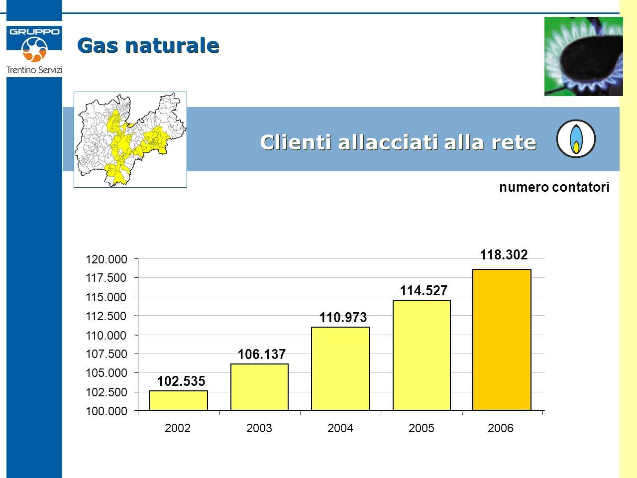 Gas naturale Clienti allacciati alla rete 102.535 106.137 110.973 114.527 100.000 102.500 105.000 107.500 110.000 112.500 115.000 117.500 120.000 2002200320042005 numero contatori 2006 118.302