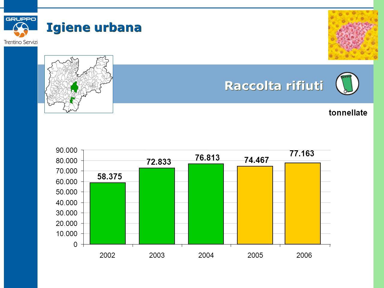 Igiene urbana Raccolta rifiuti 58.375 72.833 76.813 74.467 0 10.000 20.000 30.000 40.000 50.000 60.000 70.000 80.000 90.000 2002200320042005 tonnellate 77.163 2006