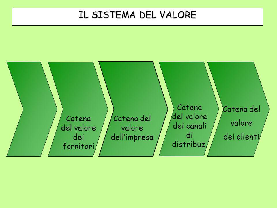 Catena del valore dellimpresa Catena del valore dei fornitori Catena del valore dei canali di distribuz. Catena del valore dei clienti IL SISTEMA DEL