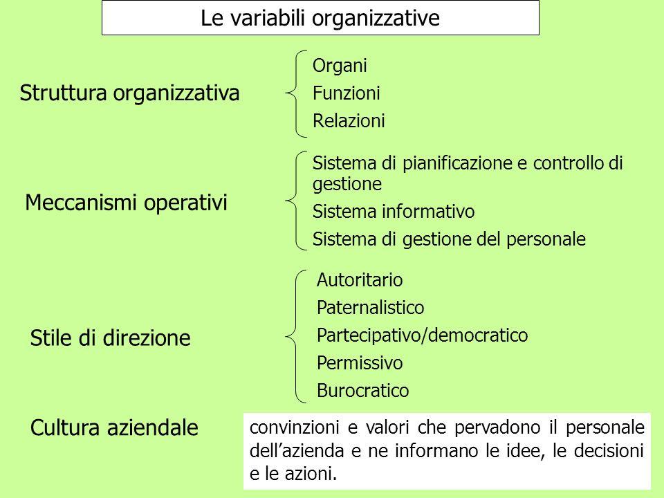 Le variabili organizzative Struttura organizzativa Meccanismi operativi Stile di direzione Cultura aziendale Organi Funzioni Relazioni Sistema di pian
