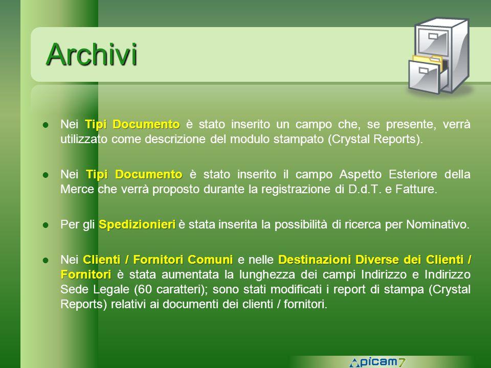 Archivi Tipi Documento Nei Tipi Documento è stato inserito un campo che, se presente, verrà utilizzato come descrizione del modulo stampato (Crystal R