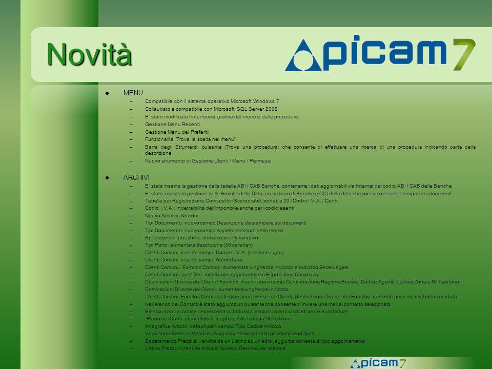 Novità MENU –Compatibile con il sistema operativo Microsoft Windows 7 –Collaudato e compatibile con Microsoft SQL Server 2008 –E stata modificata lint