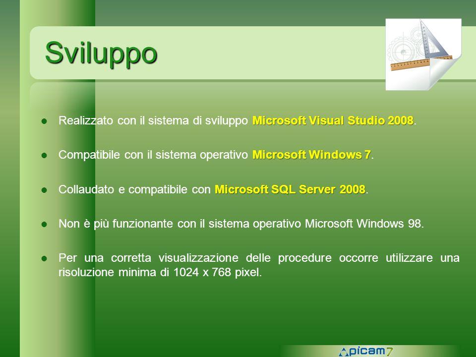 Sviluppo Microsoft Visual Studio 2008 Realizzato con il sistema di sviluppo Microsoft Visual Studio 2008. Microsoft Windows 7 Compatibile con il siste