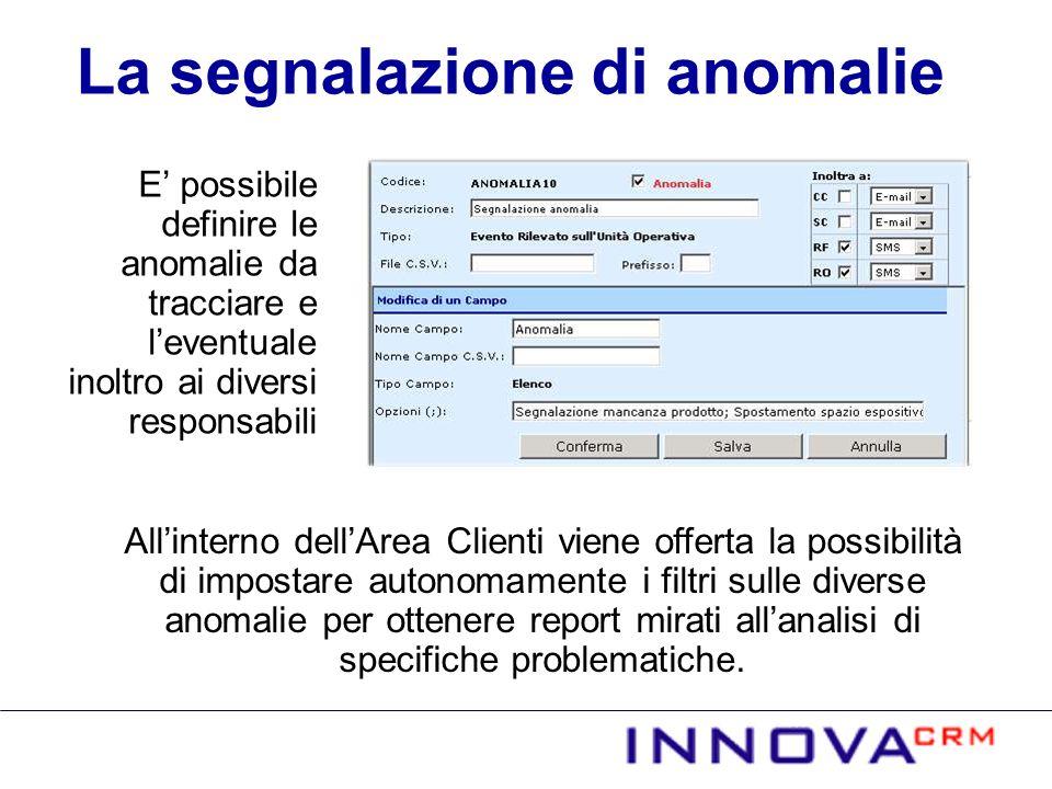 E possibile definire le anomalie da tracciare e leventuale inoltro ai diversi responsabili Allinterno dellArea Clienti viene offerta la possibilità di