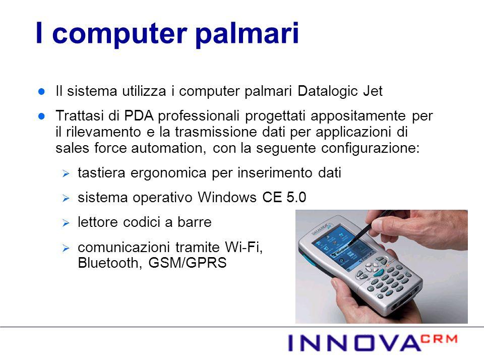 Il sistema utilizza i computer palmari Datalogic Jet Trattasi di PDA professionali progettati appositamente per il rilevamento e la trasmissione dati