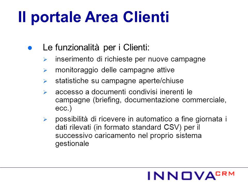Le funzionalità per i Clienti: inserimento di richieste per nuove campagne monitoraggio delle campagne attive statistiche su campagne aperte/chiuse ac