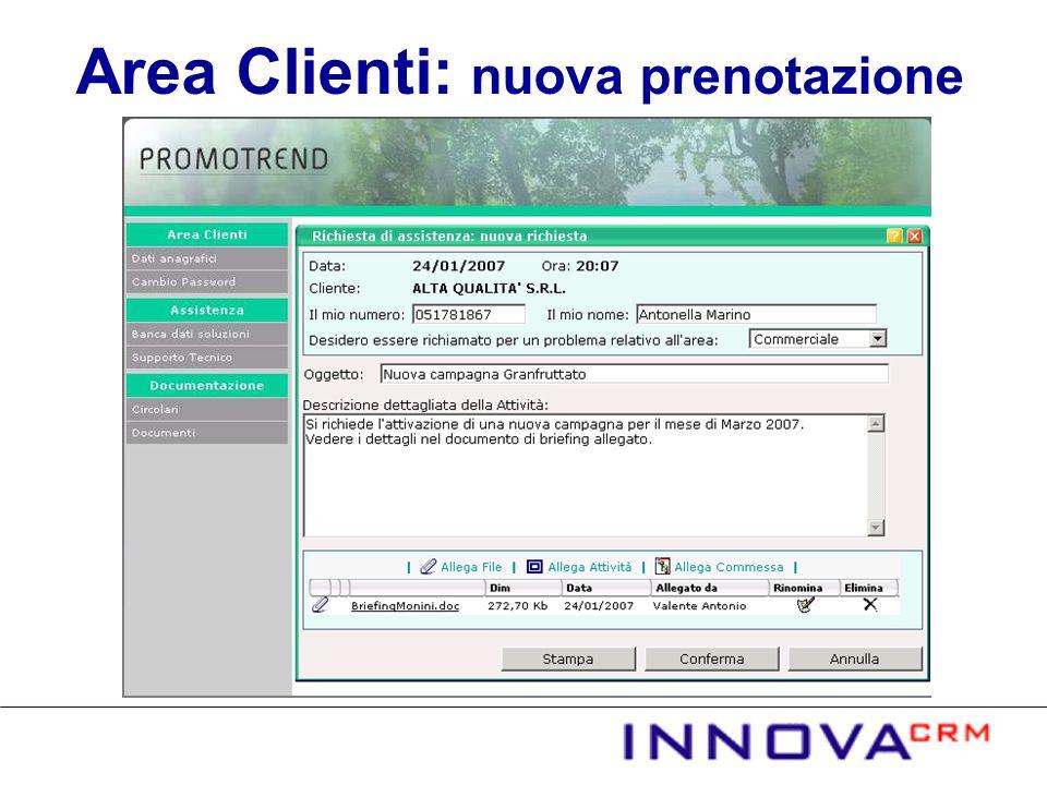 Area Clienti: nuova prenotazione