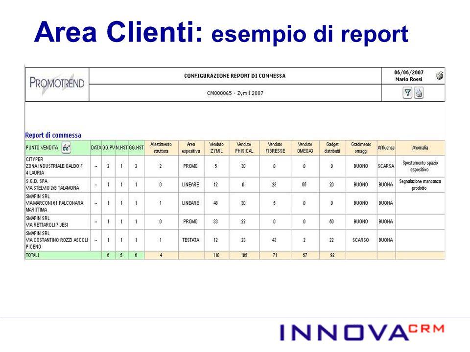 Area Clienti: esempio di report