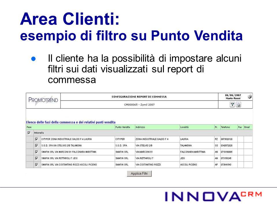 Il cliente ha la possibilità di impostare alcuni filtri sui dati visualizzati sul report di commessa Area Clienti: esempio di filtro su Punto Vendita