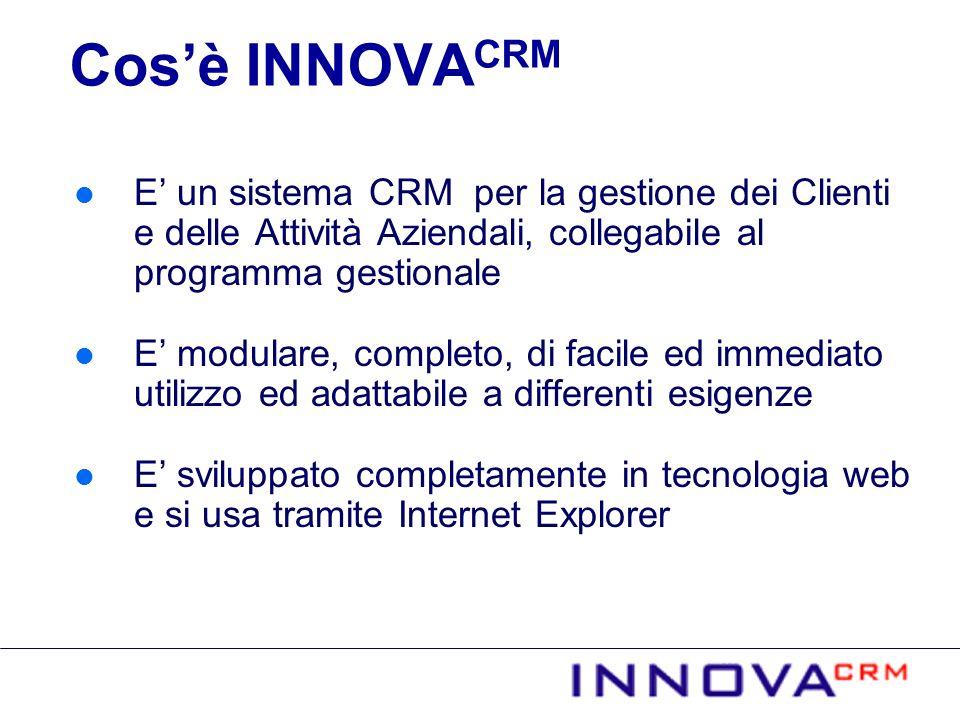 Cosè INNOVA CRM E un sistema CRM per la gestione dei Clienti e delle Attività Aziendali, collegabile al programma gestionale E modulare, completo, di