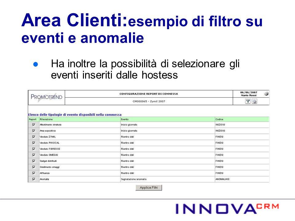 Ha inoltre la possibilità di selezionare gli eventi inseriti dalle hostess Area Clienti: esempio di filtro su eventi e anomalie