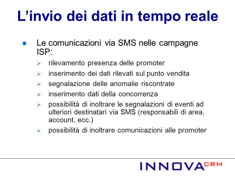 Le comunicazioni via SMS nelle campagne ISP: rilevamento presenza delle promoter inserimento dei dati rilevati sul punto vendita segnalazione delle an
