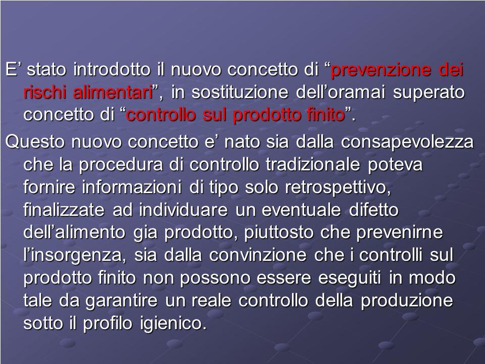 E stato introdotto il nuovo concetto di prevenzione dei rischi alimentari, in sostituzione delloramai superato concetto di controllo sul prodotto finito.