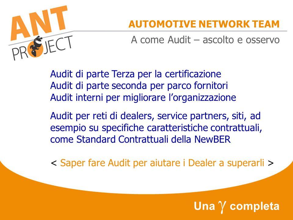 AUTOMOTIVE NETWORK TEAM Una completa A come Audit – ascolto e osservo Audit di parte Terza per la certificazione Audit di parte seconda per parco forn