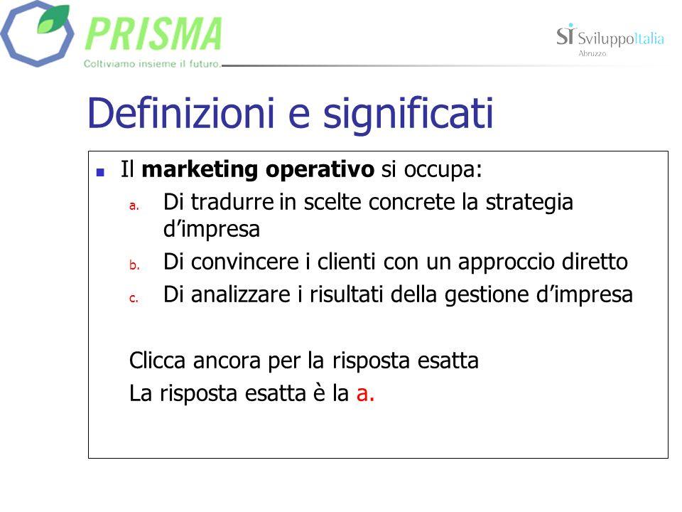 Definizioni e significati Il marketing operativo si occupa: a.