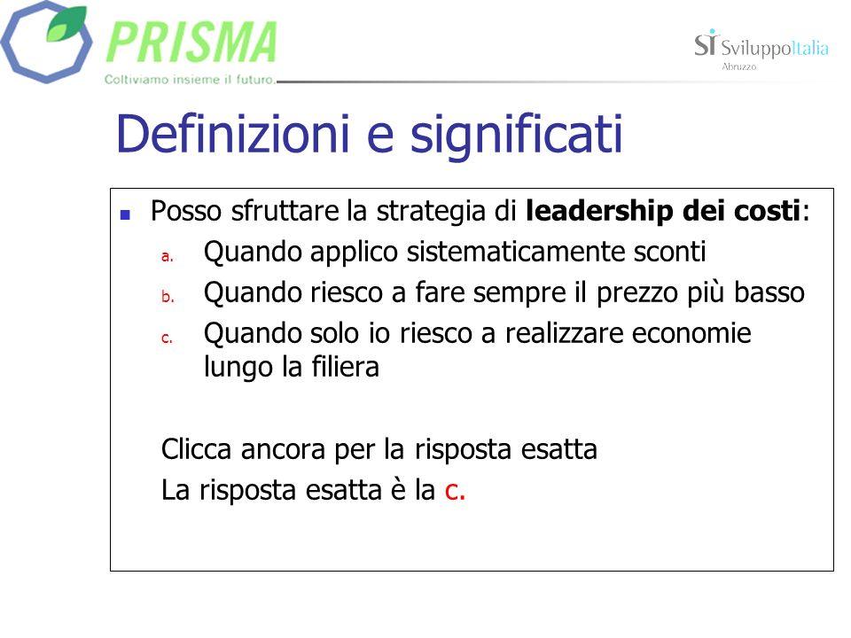 Definizioni e significati Posso sfruttare la strategia di leadership dei costi: a.