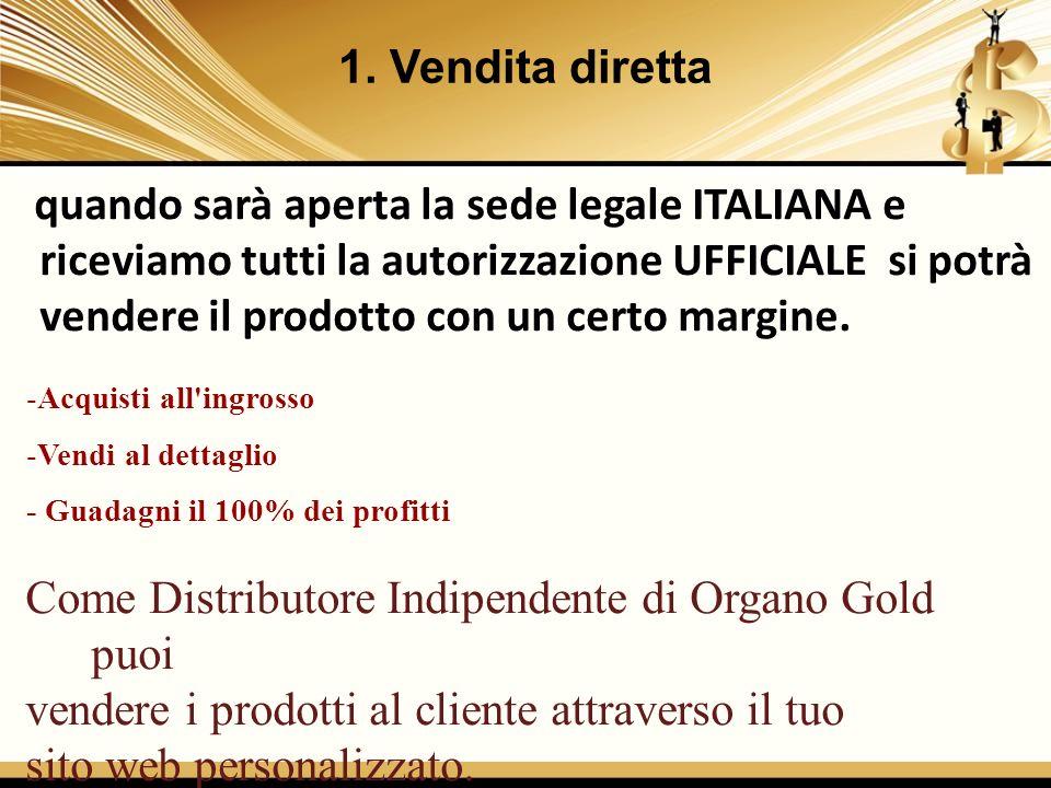 1. Vendita diretta quando sarà aperta la sede legale ITALIANA e riceviamo tutti la autorizzazione UFFICIALE si potrà vendere il prodotto con un certo
