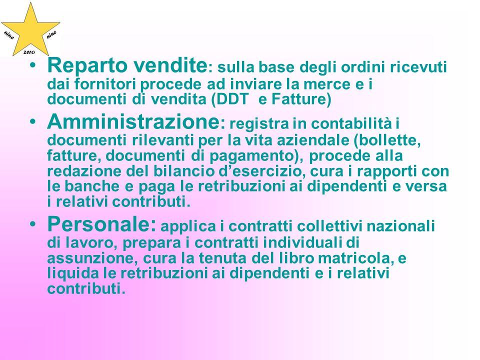 Reparto vendite : sulla base degli ordini ricevuti dai fornitori procede ad inviare la merce e i documenti di vendita (DDT e Fatture) Amministrazione