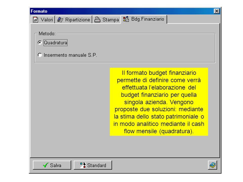 Il formato budget finanziario permette di definire come verrà effettuata lelaborazione del budget finanziario per quella singola azienda. Vengono prop