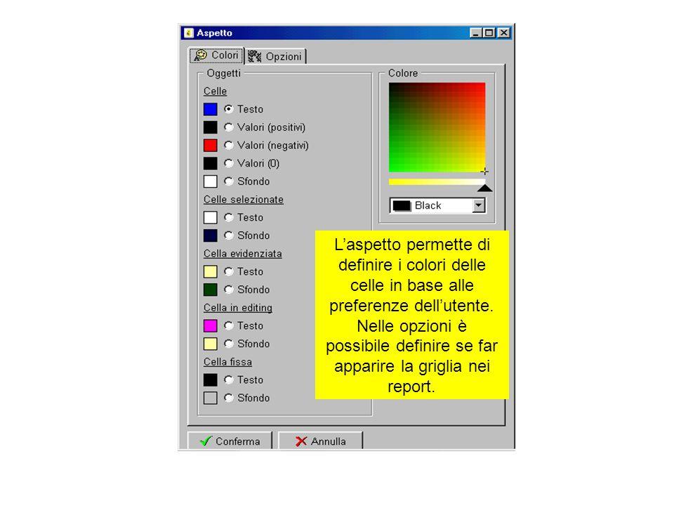 Laspetto permette di definire i colori delle celle in base alle preferenze dellutente. Nelle opzioni è possibile definire se far apparire la griglia n