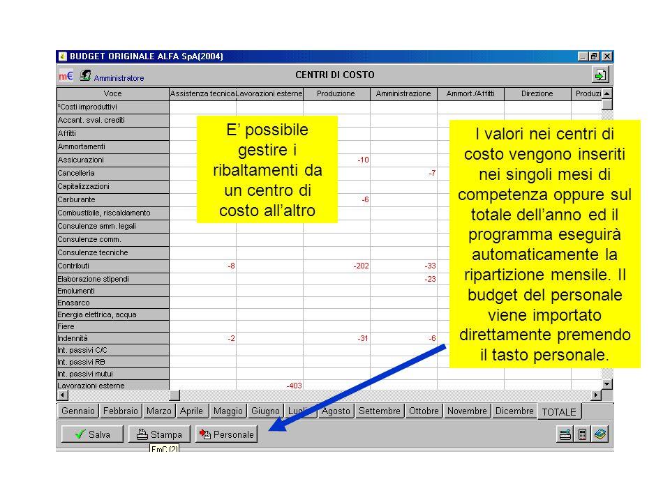 I valori nei centri di costo vengono inseriti nei singoli mesi di competenza oppure sul totale dellanno ed il programma eseguirà automaticamente la ri