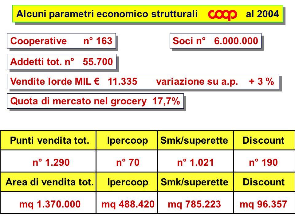 Alcuni parametri economico strutturali al 2004 Cooperative n° 163 Soci n° 6.000.000 Addetti tot. n° 55.700 Vendite lorde MIL 11.335 variazione su a.p.