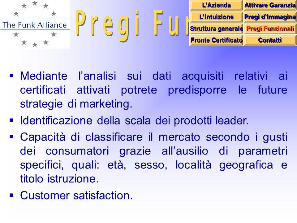 Mediante lanalisi sui dati acquisiti relativi ai certificati attivati potrete predisporre le future strategie di marketing.