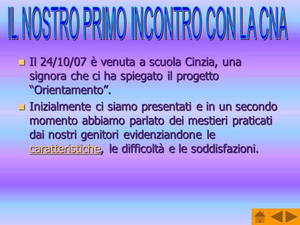 Il 24/10/07 è venuta a scuola Cinzia, una signora che ci ha spiegato il progetto Orientamento. Il 24/10/07 è venuta a scuola Cinzia, una signora che c