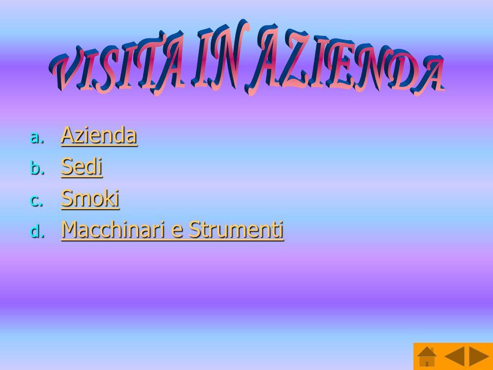 a. Azienda Azienda b. Sedi Sedi c. Smoki Smoki d. Macchinari e Strumenti Macchinari e Strumenti Macchinari e Strumenti
