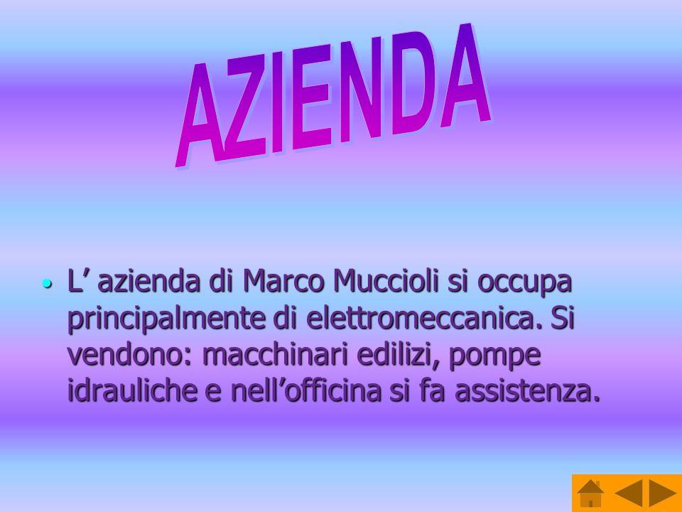 L azienda di Marco Muccioli si occupa principalmente di elettromeccanica. Si vendono: macchinari edilizi, pompe idrauliche e nellofficina si fa assist
