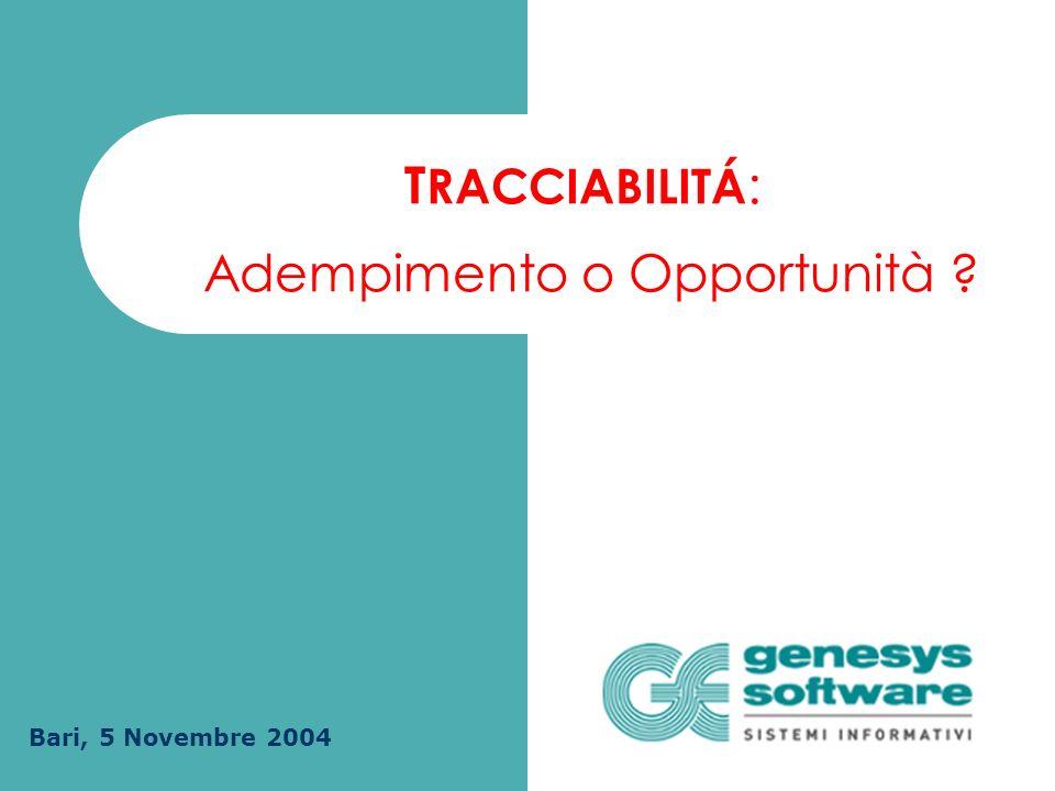 Adempimento o Opportunità Bari, 5 Novembre 2004 T RACCIABILITÁ :