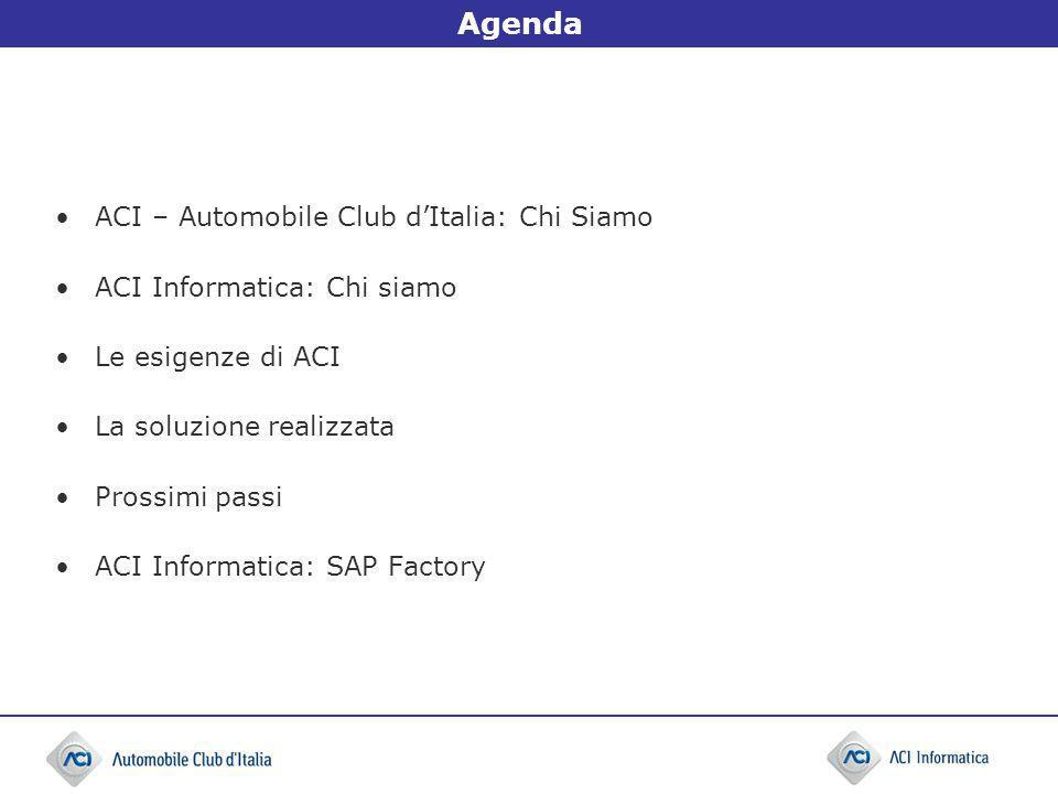 Agenda ACI – Automobile Club dItalia: Chi Siamo ACI Informatica: Chi siamo Le esigenze di ACI La soluzione realizzata Prossimi passi ACI Informatica: SAP Factory