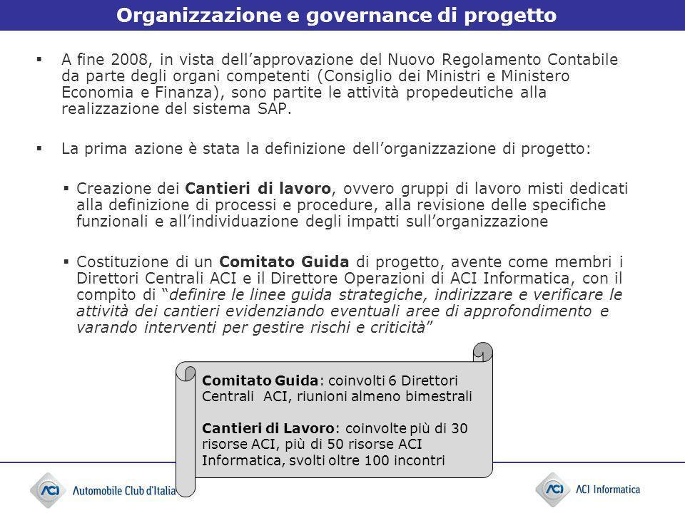 Organizzazione e governance di progetto A fine 2008, in vista dellapprovazione del Nuovo Regolamento Contabile da parte degli organi competenti (Consi