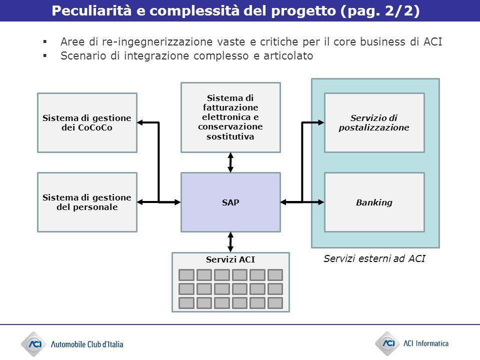 Peculiarità e complessità del progetto (pag. 2/2) Aree di re-ingegnerizzazione vaste e critiche per il core business di ACI Scenario di integrazione c