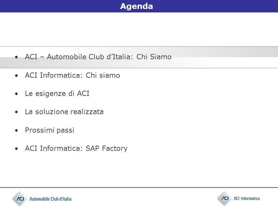 ACI – Automobile Club dItalia (1/3) LACI è un ente pubblico non economico senza scopo di lucro, che istituzionalmente rappresenta e tutela gli interessi generali dell automobilismo italiano, del quale promuove e favorisce lo sviluppo.