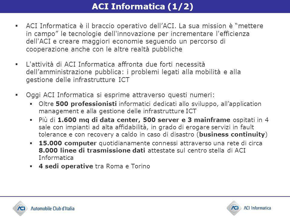 ACI Informatica (1/2) ACI Informatica è il braccio operativo dellACI. La sua mission è mettere in campo le tecnologie dell'innovazione per incrementar
