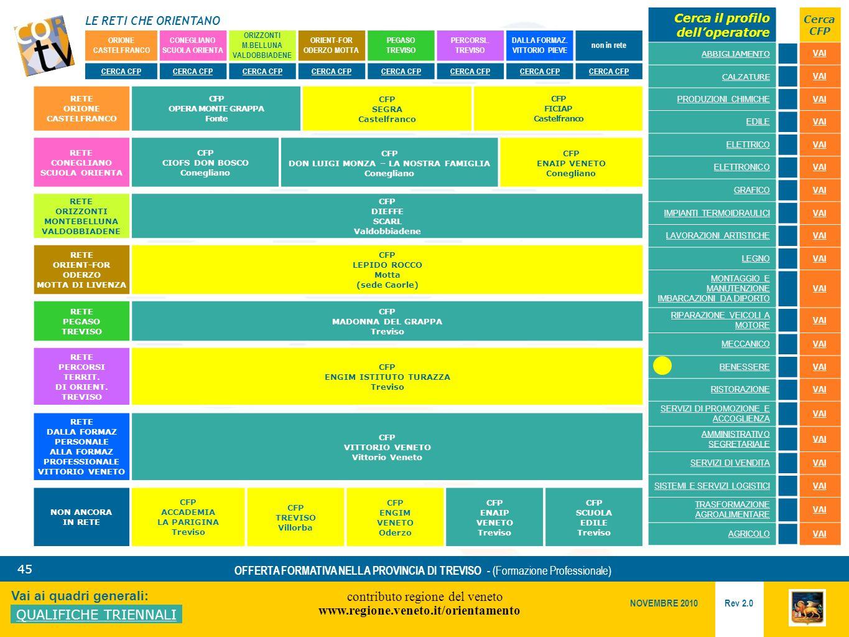 LE RETI CHE ORIENTANO contributo regione del veneto www.regione.veneto.it/orientamento 45 Vai ai quadri generali: QUALIFICHE TRIENNALI Rev 2.0 NOVEMBRE 2010 OFFERTA FORMATIVA NELLA PROVINCIA DI TREVISO - (Formazione Professionale) ORIONE CASTELFRANCO CONEGLIANO SCUOLA ORIENTA ORIZZONTI M.BELLUNA VALDOBBIADENE ORIENT-FOR ODERZO MOTTA PEGASO TREVISO PERCORSI..