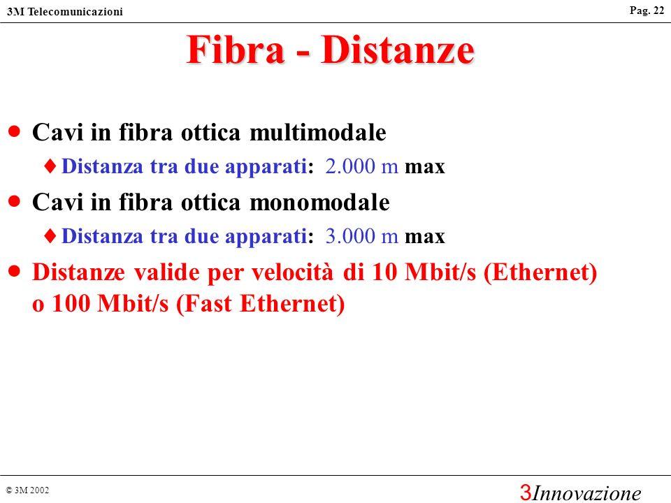 © 3M 2002 3M Telecomunicazioni 3 Innovazione Pag. 21 Cavi per Ethernet 100 Mbit/s 100BaseTX 100BaseFX a 1300 nm UTP/FTP almeno Cat. 5 Fibra Ottica mul