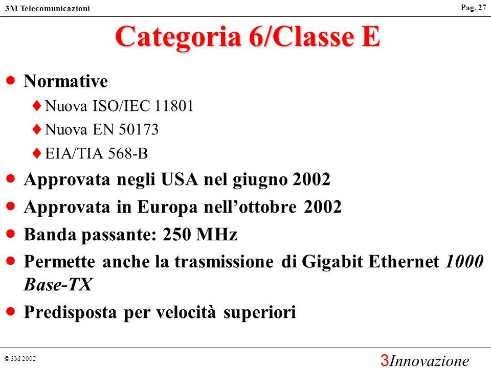 © 3M 2002 3M Telecomunicazioni 3 Innovazione Pag. 26 Standards cablaggi in rame Categoria 5/Classe D-1995 (EIA/TIA 568-A, ISO/IEC 11801-1995) Banda pa