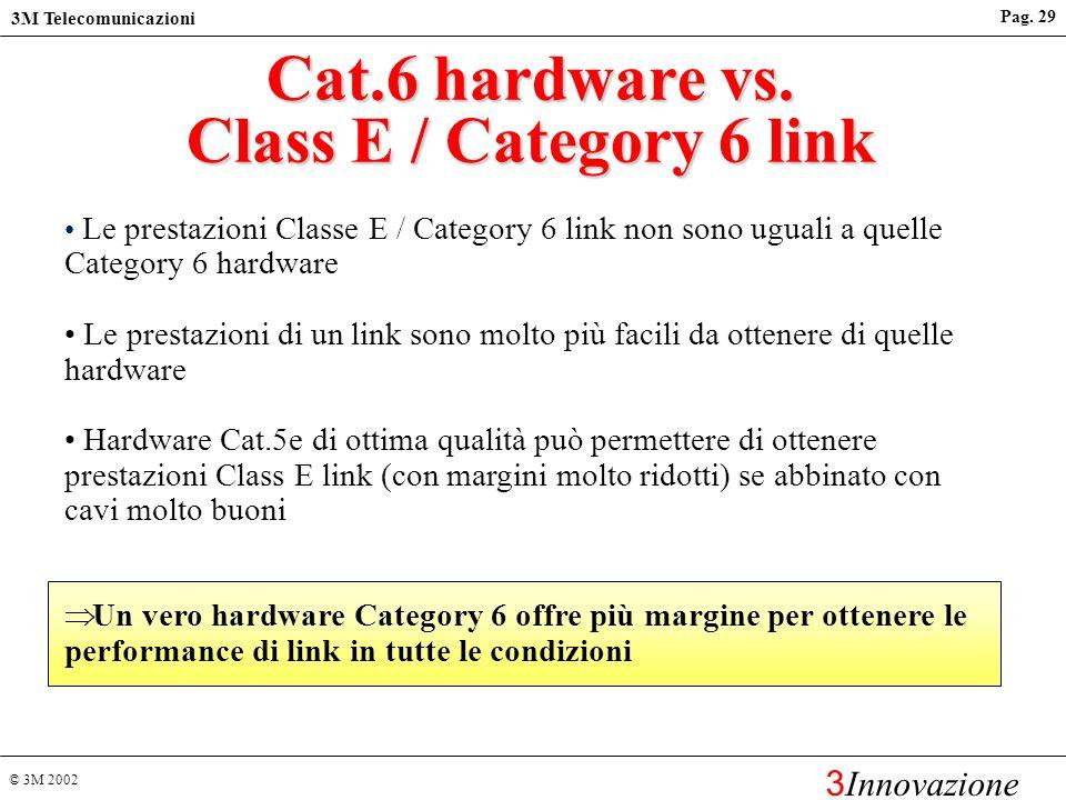 © 3M 2002 3M Telecomunicazioni 3 Innovazione Pag. 28 Classi e Categorie Nelle ultime edizioni degli standard: IEC/ISO ed EN fanno riferimento alle Cla