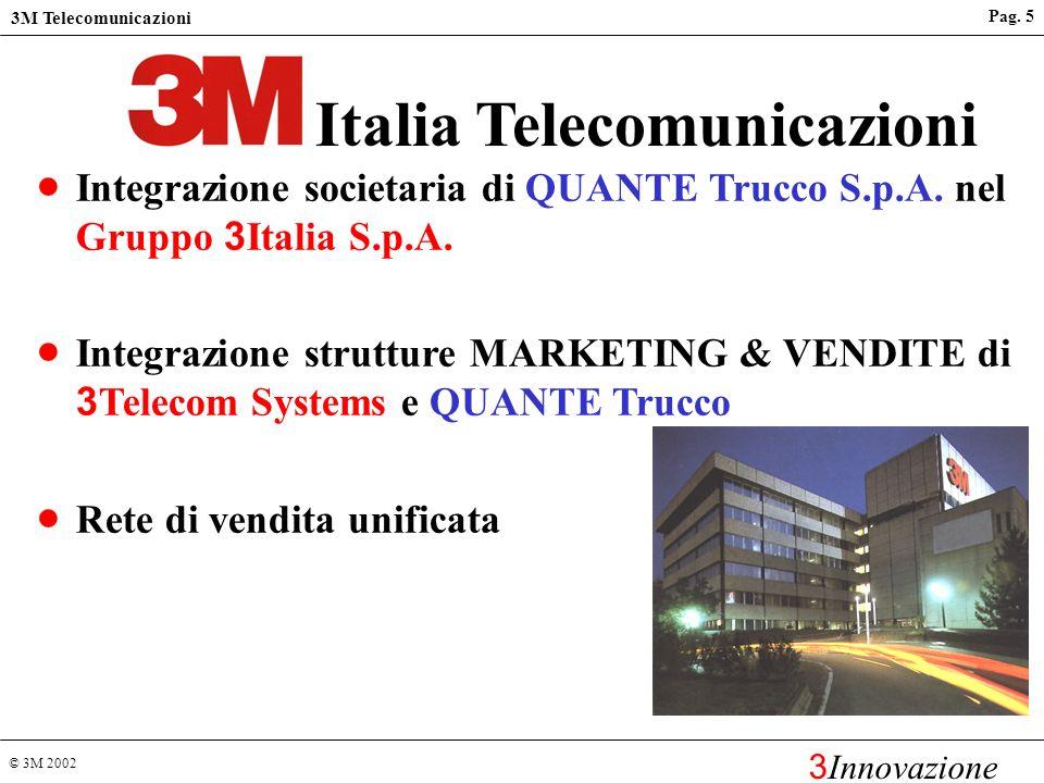 © 3M 2002 3M Telecomunicazioni 3 Innovazione 3M in Italia - Prodotti e mercati SALUTE Area ospedaliera, odontoiatria e ortodonzia, area farmacia, prod