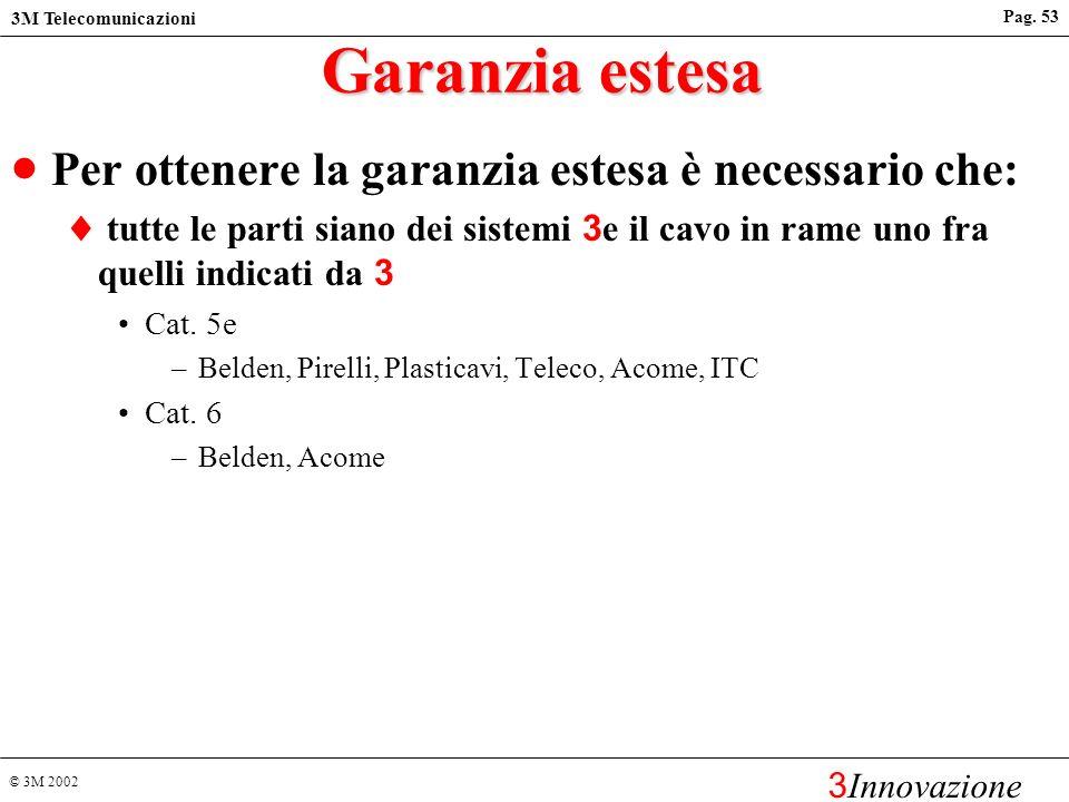 © 3M 2002 3M Telecomunicazioni 3 Innovazione Pag. 52 Garanzia 3M Garanzia standard di 12 mesi per tutti i componenti Volition Garanzia estesa di 20 an