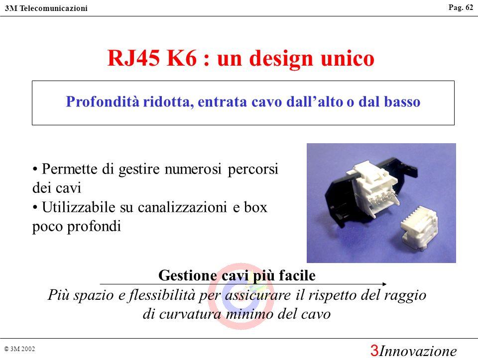 © 3M 2002 3M Telecomunicazioni 3 Innovazione Pag. 61 Lo stesso connettore può essere usato ad entrambi gli estremi del link Migliori prestazioni Facil