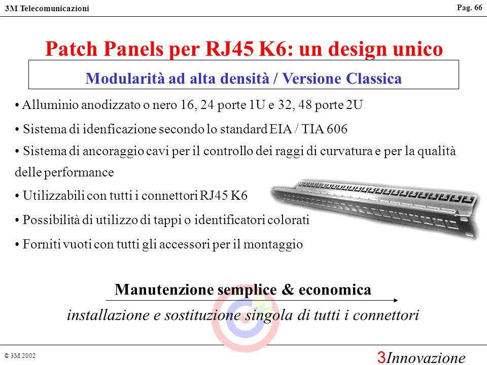 © 3M 2002 3M Telecomunicazioni 3 Innovazione Pag. 65 Accetta conduttori solidi da AWG 26 a 22 e conduttori multifilari RJ45 K6 : un design unico Compa