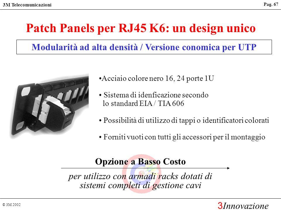 © 3M 2002 3M Telecomunicazioni 3 Innovazione Pag. 66 Patch Panels per RJ45 K6: un design unico Modularità ad alta densità / Versione Classica Allumini