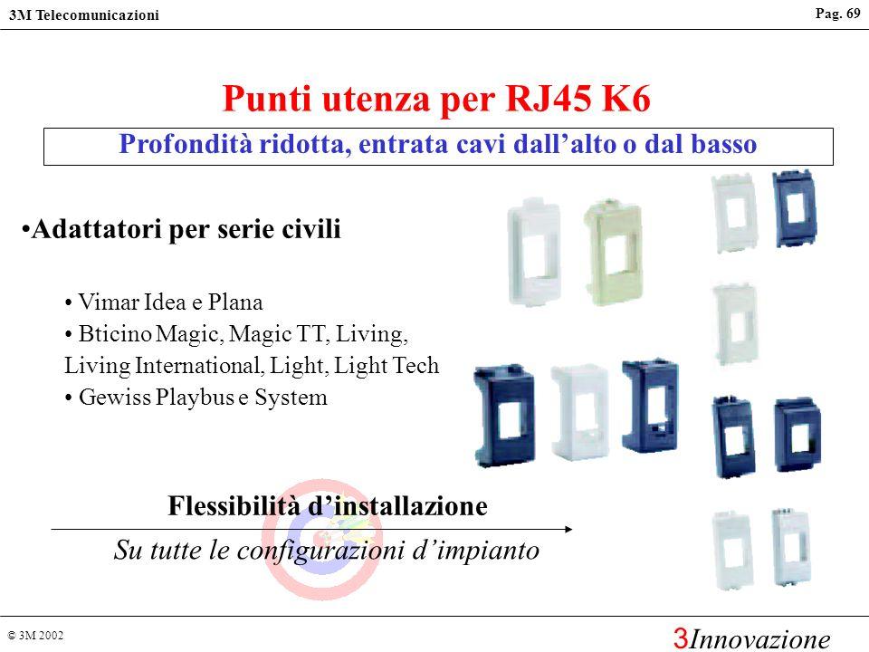 © 3M 2002 3M Telecomunicazioni 3 Innovazione Pag. 68 Flessibilità dinstallazione Molte opzioni di percorsi dei cavi Profondità ridotta, entrata cavi d