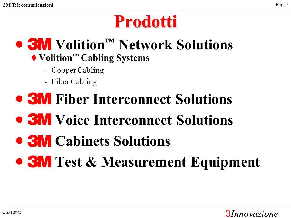 © 3M 2002 3M Telecomunicazioni 3 Innovazione Pag. 6 Rete di vendita Installatori Autorizzati Installatori Utenti Finali Distributori Grossisti Rete di