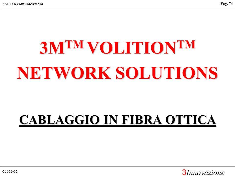 © 3M 2002 3M Telecomunicazioni 3 Innovazione Pag. 73 RJ-45 Cat 6 Permanent link Class E* * shielded configuration Soluzione K6: i risultati dei test