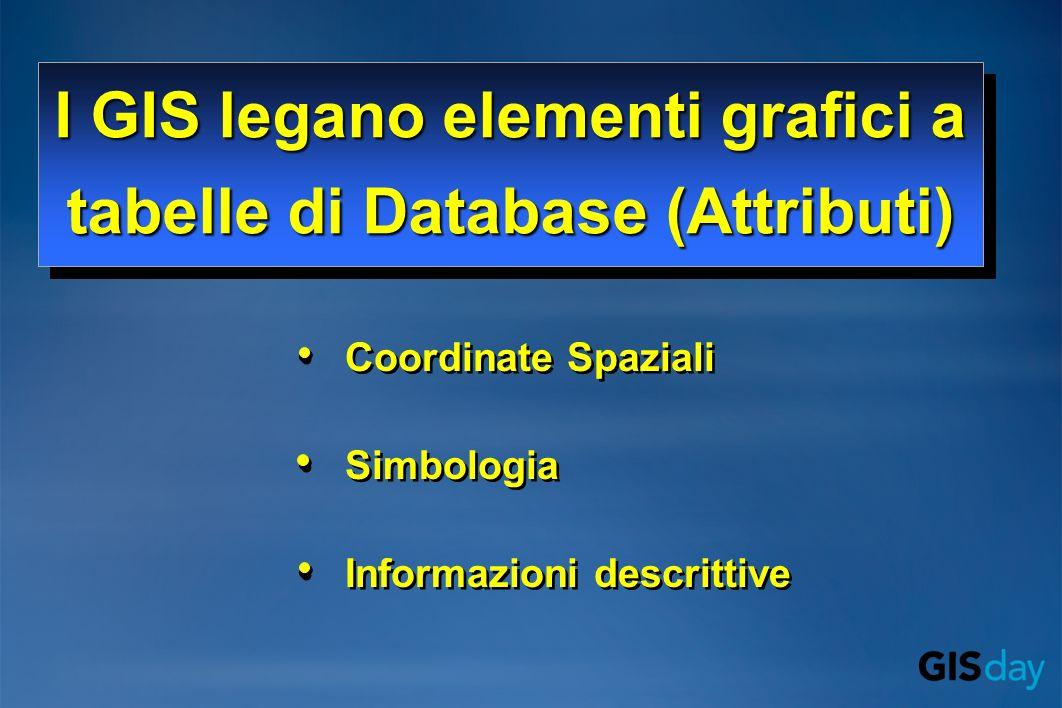 Coordinate Spaziali Simbologia Informazioni descrittive Coordinate Spaziali Simbologia Informazioni descrittive I GIS legano elementi grafici a tabelle di Database (Attributi) I GIS legano elementi grafici a tabelle di Database (Attributi)